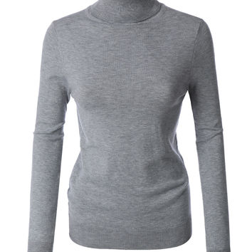 LE3NO Womens Basic Soft Ribbed Knit Turtleneck Sweater Top