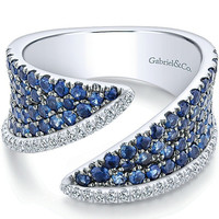 "Gabriel 14K White Gold ""Lusso"" Blue Sapphire & Diamond Wide Band"