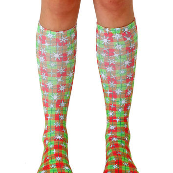 Pixel Snowflakes Knee High Socks