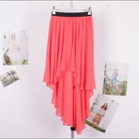 Asymmetric chiffon irregular hem dress