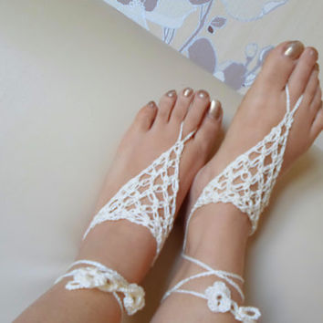 Vanilla Barefoot Sandal, Foot jewelry, Vanila cream, Yoga, Anklet , Bellydance, Steampunk, Beach Pool, Wedding, Sexy.