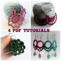 Set of 4 Crochet Patterns, Crochet Earrings PDF Pattern, Crochet Jewelry Pattern, Jewelry PDF Ebook, DIY Jewelry, Crochet Lace pdf pattern