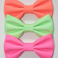 Neon Hair Bow Set or Bow Tie Set - Hair Bows - Hair Bow Set - Neon Hair Bows - Neon Bows - Neon Pink - Neon Green - Neon Orange - 3 Bow Set