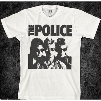 men black tee-shirt summer style tops vintage music the police t shirt band  sting t shirts