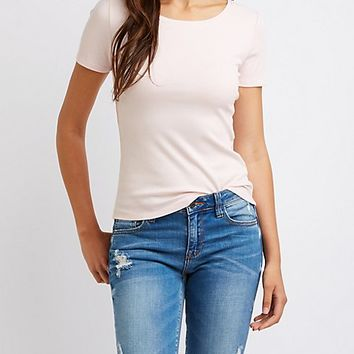 Ribbed Scoop Neck Tee | Charlotte Russe