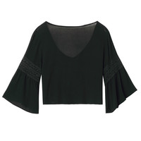 Black V Neck Tie Front Crochet Lace Detail 3/4 Sleeve Crop Top