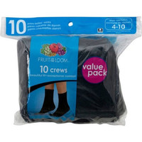 Fruit of the Loom Women's Crew Socks, 10 Pack, Black, 4-10