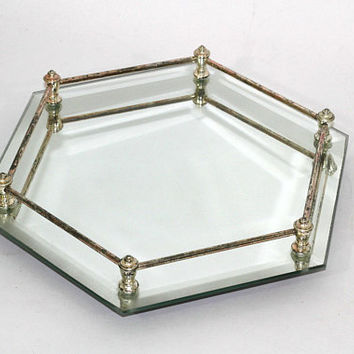 Mirrored Tray Hexagonal Shape Footed | Made in Hong Kong | Mirror Vanity Tray | Cosmetic / Perfume Tray Mirrored 6 Sided | Jewelry Tray