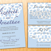 Personalized Instant Download Printable Wedding Invitation Suite Abstract Flower Elegant Modern Wedding Set Customize Wedding Invite Set