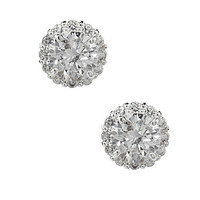 Dillard's Boxed Collection Round Pave Stud Earrings - Silvertone/Clear