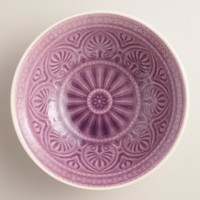 Plum Embossed Soup Bowls Set of 4