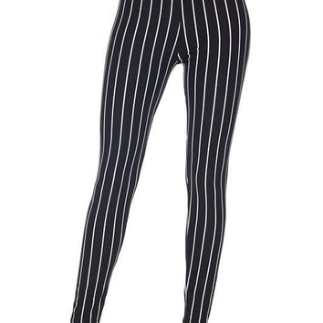 Black/White Pinstripe Print Leggings