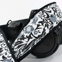 Floral dSLR Camera Strap, Black, White, Grey, SLR, 26 aw