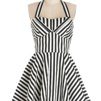 Traveling Cupcake Truck Dress in Licorice Stripe