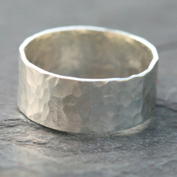 Wide Sterling Silver Ring, Hammered Silver Band, Sterling Silver Ring, Size 5 Ring, Stacking RIng, Rustic Silver RIng Maggie McMane Designs