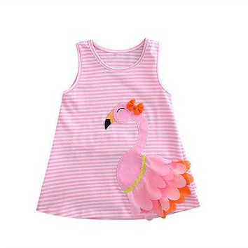 Baby and Toddler Girls Pink Flamingo Striped Summer Dress.    Available in 9 Mo, 18 Mo, 24 Mo, 3T and 4T.    ***FREE SHIPPING***