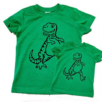 Father's Day Dinosaur Matching Green Tshirt set men's boys kids