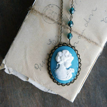 My Fair Lady Cameo Necklace - Teal