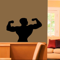Wall Vinyl Decal Sticker Room Window Strong Man Muscles Bodybuilder Gym TK42