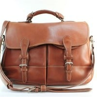 Mulholland Brown Leather Messenger Bags Satchel Fine Leather Goods