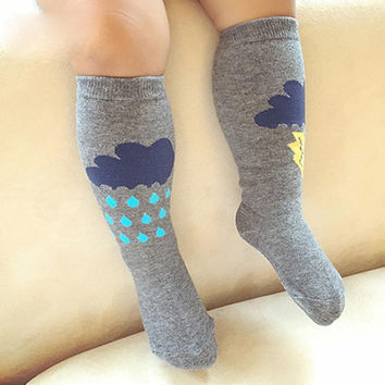 0-4Y Boys/Girls Lovely Socks Kids/Baby Cotton Lightning Clouds In-tube Socks New 2017
