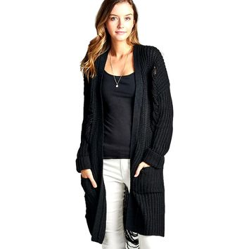 Long Sleeve Distressed Long Cardigan Sweater with Pockets, Black