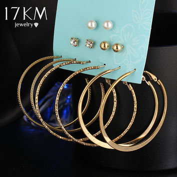 17KM New 6 Pairs/Set  Fashion Punk Crystal Stud Earrings For Women Men Vintage boho Koyle Simulated Pearl Clip Cuff Earring Set
