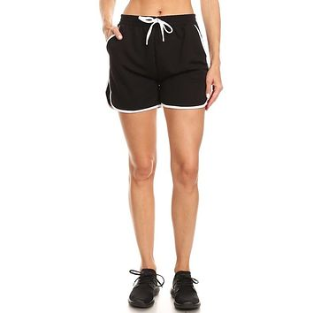 Elastic Waist Side Stripe Shorts - Black with White Stripe