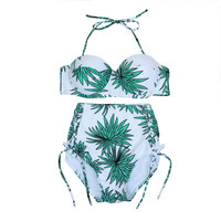 Light Green Leaves Print Halter High Waist Bikini Set
