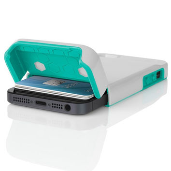 The Optical White / Navajo Turquoise Incipio STASHBACK™ Dockable Credit Card Case for iPhone 5-5s
