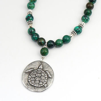 """Turtle necklace, blue green African turquoise beads, sink or swim 19 1/2"""" long 50cm"""