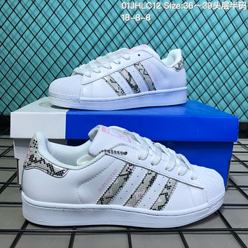HCXX A126 Adidas Superstar Fashion Casual Printed school board shoes White