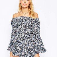 ASOS Off Shoulder Romper with Flutter Sleeves in Pretty Floral Print