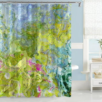 Abstract shower curtain, pink, green and aqua shower curtain, art shower curtain, from original Dream Garden