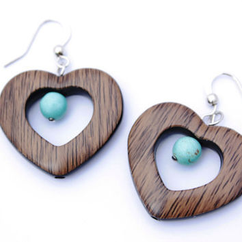 CIJ 20% OFF Heart Earrings with Turquoise Bead on Nickel Free Fish Hooks, Faux Wood Grain Plastic Lightweight Affordable Earrings