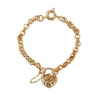 Charm Chain 18K Gold Plated Bracelet Hollow Love Heart Vintage Lock Drop Pendant Luxury Jewelry Gift for Lady Girl Women