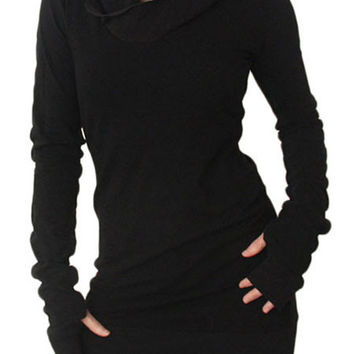Turtleneck Hooded Casual Dress