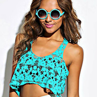 TEAL BLUE CROCHET CROP TOP