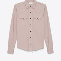 Western-style shirt with raw edges in pale pink denim