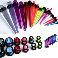 36pc Ear Stretching Kit Color Marble Plugs and Tapers 00g-14g Gauges Plus Instructions