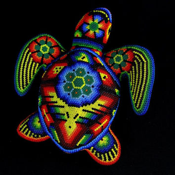 H160 Turtle Huichol Mexican Folk Art Shipping From Mexico Peyote
