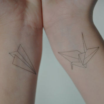 Origami Crane Temporary Tattoo Set Paper Aero