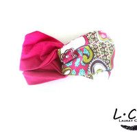 Fuschia and Floral Print Hair band Turban Style Headband Jersey Hair Wrap Soft Head band Womens Accessories Turban Tie