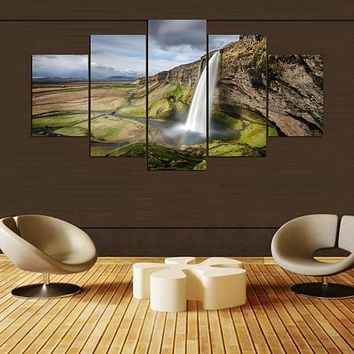 Wall Art Canvas Painting 5 Panel Waterfall Landscape Poster Wall Pictures For Living Room Home Decor Modular Pictures PENGDA