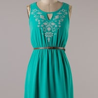 Aim to Please Embroidered Dress - Green