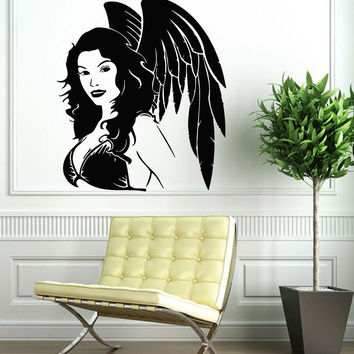 Wall Decals Vinyl Decal Sticker Art Murals Decor Girl Angel With Wings Kj616