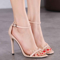 Sexy High Heels Sandals Women Sequined Ankle Strap Summer Dress Shoes Woman