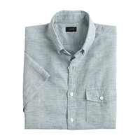 J.Crew Mens Tall Short-Sleeve Shirt In End-On-End Cotton-Linen