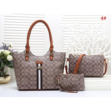COACH Fashion New Pattern Leather Shopping Leisure Shoulder Bag Handbag Three Piece Suit Bag Women 4#