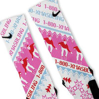 Drake Xmas Bling Pink Custom Nike Elite Socks
